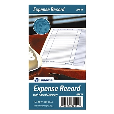 TOPS™ Expense Record Book, Monthly, 6 1/4