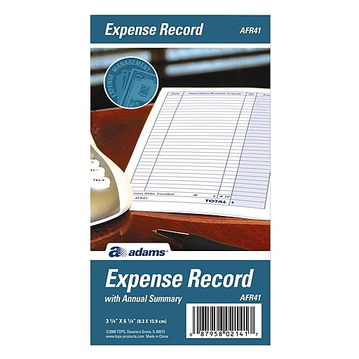 tops expense record book monthly 6 1 4 x 3 1 4 white afr41