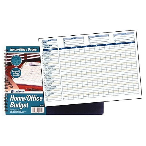 tops home office budget book weekly monthly navy blue 7 x 10