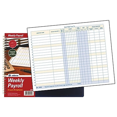 TOPS™ Payroll Record Book, Weekly, 8 1/2