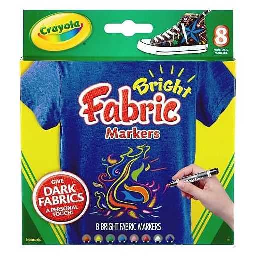 Crayola® Bright Fabric Marker, Assorted, 8/Pack (588176)