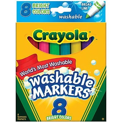 Crayola® Broad Line Washable Marker, Assorted, 8/Pack (58-7819)