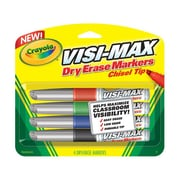 Crayola Dry Erase Markers, Chisel Tip, Broad, Assorted Colors, 4/set