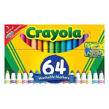 Crayola® Washable Broad Line Marker, Assorted, 64 Count (58-8180)