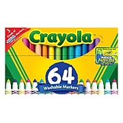 Crayola Washable Kid's Markers, Broad Point, 64/Box (58-8180)