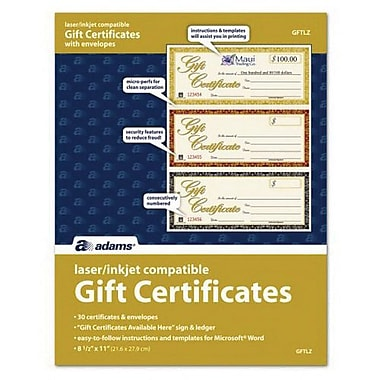 TOPS™ 3-Up Gift Certificate, 30/Pack (GFTLZ)