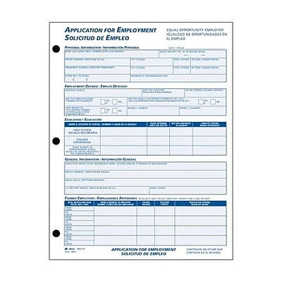 Adams Bilingual Employee Application Form Pad Part  FormsPad