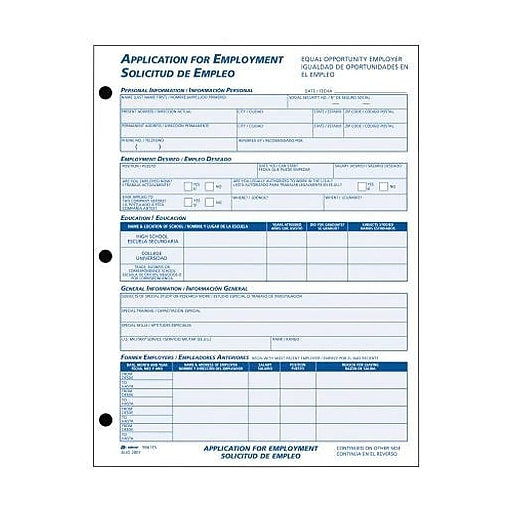 adams bilingual employee application form pad 1 part 50 forms pad