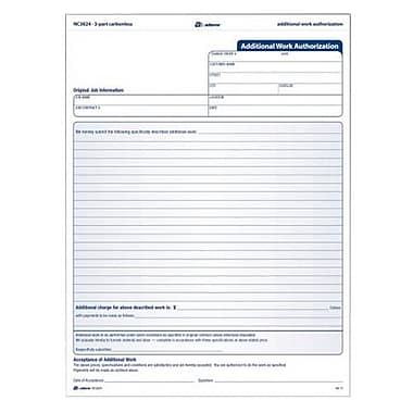 Tops Carbonless Additional Work Authorization Form Part