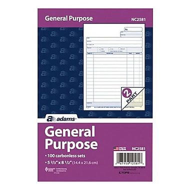 TOPS™ Carbonless All Purpose Form, 2-Part, 100/Pack (NC2581)