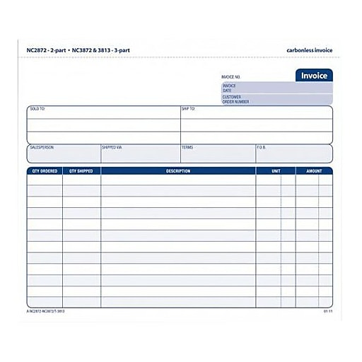 TOPS Carbonless Invoice Form Unit Set Part Pack NC - Personalized invoice template