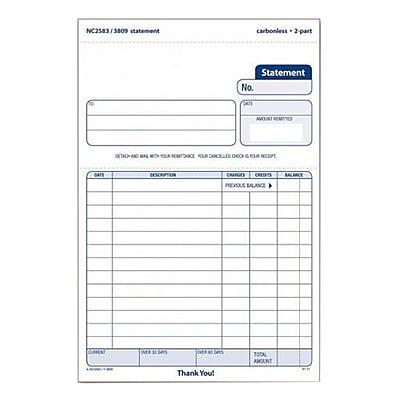 TOPS™ Carbonless Statement Form Unit Set, 2-Part, 100/Pack (NC2583)