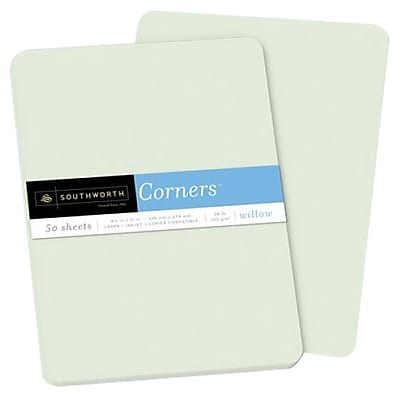 "Southworth Corners Paper, 8.5"" x 11"", 28 lb., Willow, 50/Pack (P198L)"