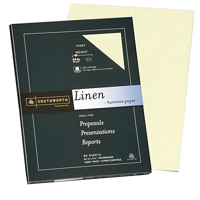 "Southworth 25% Cotton Business Paper, 8.5"" x 11"", 24 lb. Linen Finish, Ivory, 100 Sheets/Pack (P564CK)"