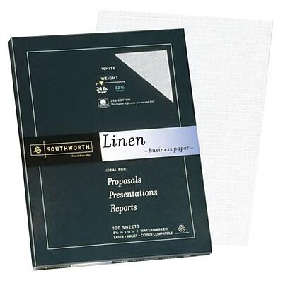 """Southworth 25% Cotton Business Paper, 8.5"""" x 11"""", 24 lb. Linen Finish, White, 100 Sheets/Pack (P554CK)"""