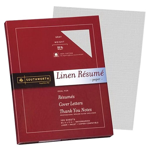 southworth linen resume paper 8 1 2 x 11 gray 100 pack