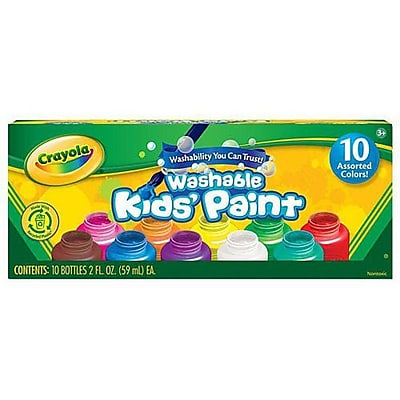 Crayola 10 ct. Washable Kids' Classic Paint, 2 fl oz, 1 Box