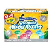Crayola Washable Kids Paint, Assorted Colors, 2 oz., 6/Set (54-5000)