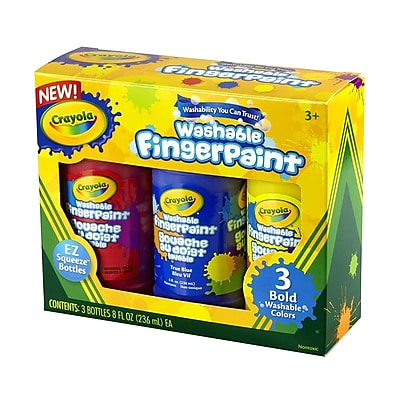 Crayola® Washable Bright Finger-paints, Primary Colors, 8 oz.