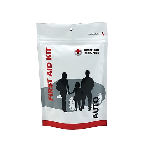 American 32 Pieces Red Cross Plastic Auto First Aid Zip Kit (720008)