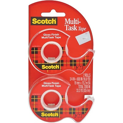 Scotch® Transparent Multi-Task Tape with Dispenser, 3/4