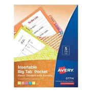 "Avery® Big Tab™ 5-Tab Pocket Insertable Divider, Plastic, Assorted, 9 1/4"" x 11 1/8"" (7714)"
