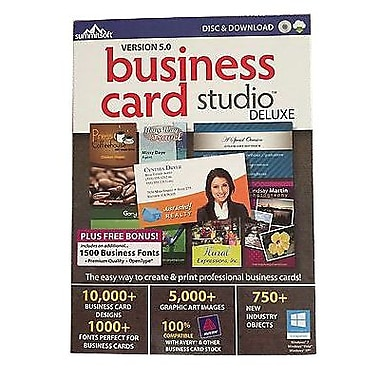 Summitsoft® Business Card Studio Deluxe v5.0 Software, Windows, Download (8111041)