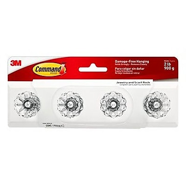 Command™ Jewelry and Scarf Rack, White (HOM-18CR-ES)