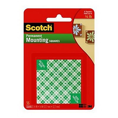 "Scotch® Permanent Mounting Square, 1/2"" x 1/2"", White (111-SML)"