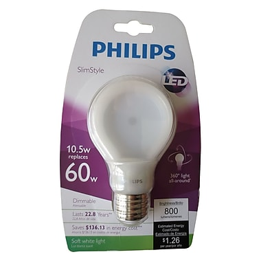 Philips SlimStyle 10.5 W Equivalent Soft White A19 LED Light Bulb (433227)