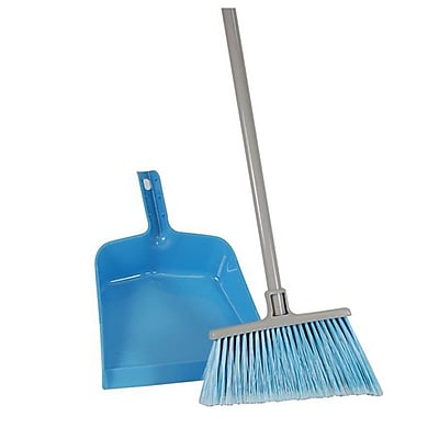 Quickie® 750-441 All-Purpose Broom and Dust Pan, Blue