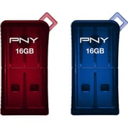 PNY® 16GB Micro Sleek Attache USB Flash Drive 2 pack, Red/Blue (PFDU16GX2SLKGE)