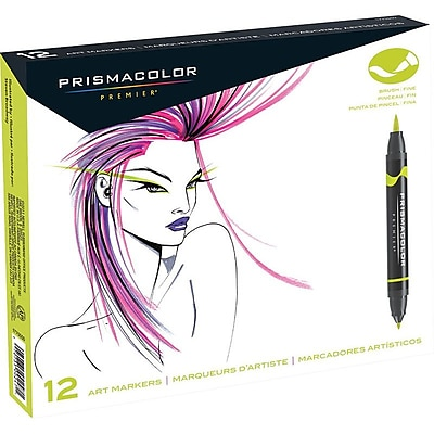 Prismacolor Premier Double-Ended Art Markers, Fine and Brush Tip, 12 Pack
