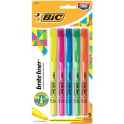 BIC® Brite Liner® Highlighter, Chisel Tip, Assorted, 5/Pack (BLP51W)