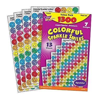 Trend® superSpots® Colorful Sparkle Smiles Value Pack Sticker, Multicolor, 1300/Pack (T-46909)