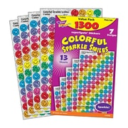 superSpots® Sticker Variety Pack, Colorful Sparkle Smiles, 1,300/Pack