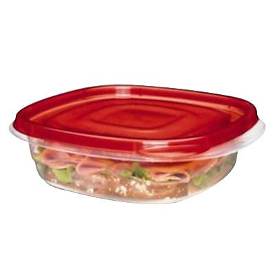 Rubbermaid TakeAlongs 2.9 Cups Clear/Red Plastic Sandwich Square Bowl, 4/Pack (FG7F58RETCHIL) 153772