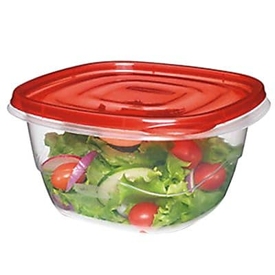 Rubbermaid TakeAlongs 5.2 Cups Clear/Red Plastic Square Bowl, 4/Pack (FG7F54RETCHIL) 153763