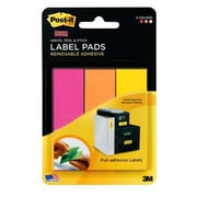"Post-it® Super Sticky 1"" x 3"" Removable Adhesive Label Pad, Fushia/Orange/Yellow, 3/Pack (2900-FOY)"