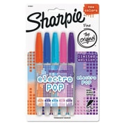 Sharpie® Electro Pop Fine Point Permanent Marker, Assorted, 5/Pack (1919847)