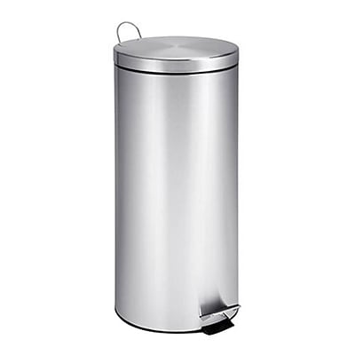 Honey Can Do 8 gal. Stainless Steel Step Trash Can, Chrome (TRS-02110)