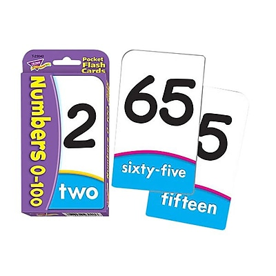 Trend® Numbers 0-100 Pocket Flash Card, Multicolor (T-23040)
