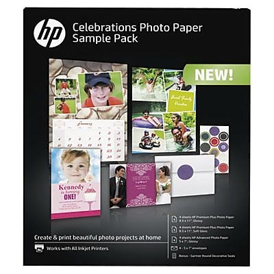 HP® Celebration Photo Paper Sample Pack, 8.5