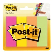 "Post-it® 1"" x 3"" Page Marker, Assorted, 4/Pack (671-4AF)"