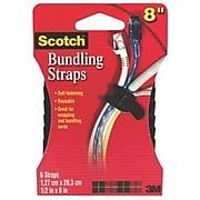 "Scotch® Bundling Strap, 1/2"" x 8"", Black, 6/Pack (RF8010)"