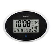 "Ashton Sutton Sharp Atomic Oval Wall Clock, 11.8"" x 1"" x 8.25"", Black/Silver (SPC936)"