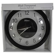 "Waltham Decorative Wall Clock, 12"" x 1 1/2"", Clear/Black (HOC135)"