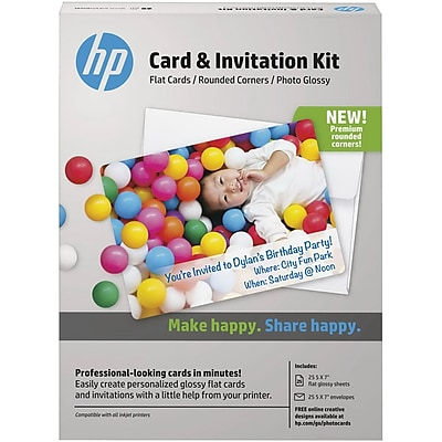 HP® Card and Invitation Kit, Rounded Corners, 5
