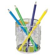 "Design Ideas Steel Doodles Pencil Cup 4"" x 3.3"", Silver (310402)"