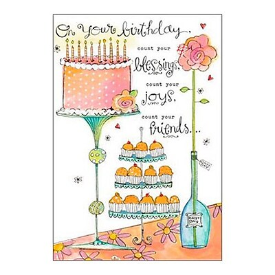 Hallmark Birthday Greeting Card, On Your Birthday, Count Your Blessings, Count Your Joys, Count You Friends(0250QUF3069)